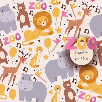Бесшовные с зоопарком животных лев оленя бегемота медведь и кот в мультяшном стиле на белом фоне