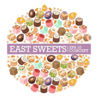 Рахат-лукум восточные сладости в круглой рамочной композиции