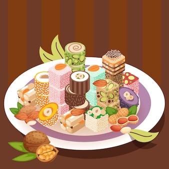 Рахат-лукум восточные сладости красочный традиционный лукум десерт на тарелке
