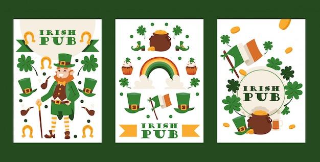 Ирландский паб баннеры день святого патрика фестиваль традиционный праздник в ирландии