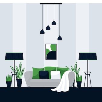 リビングルームのインテリアデザイン