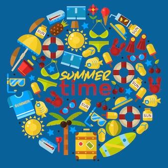 Летние каникулы в круглой рамке