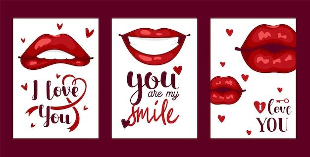 唇パターン漫画キスや笑顔のファッションの口紅で美しい赤い唇
