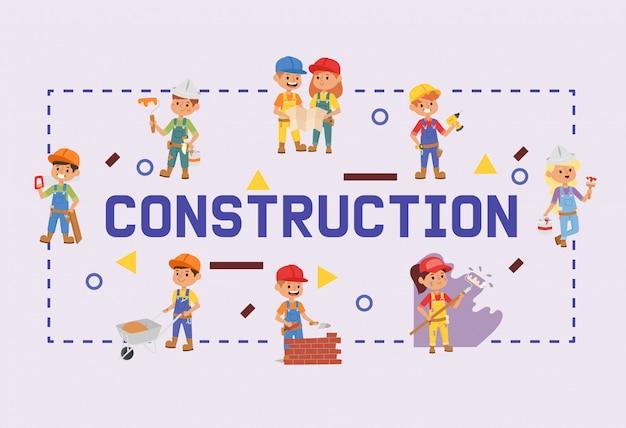Строитель конструктор детей характер здания строительство дизайн иллюстрация