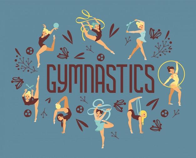 若い女の子の体操運動スポーツ選手イラスト。トレーニングパフォーマンス強度体操バランス人ポスター。チャンピオンシップワークアウトのアクロバット美しいキャラクター。