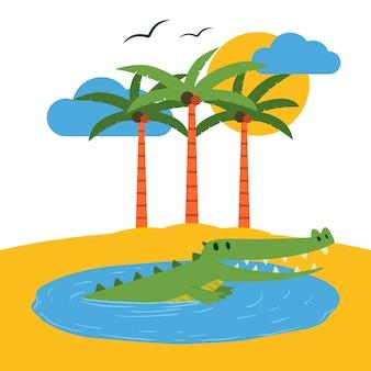テラリウムの熱帯の島の図。
