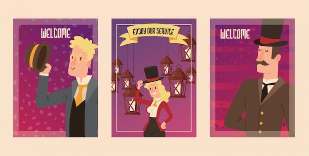 レトロなパーティーイラストをヴィンテージのファッションで帽子と女性キャラクターのビクトリア朝の人々紳士