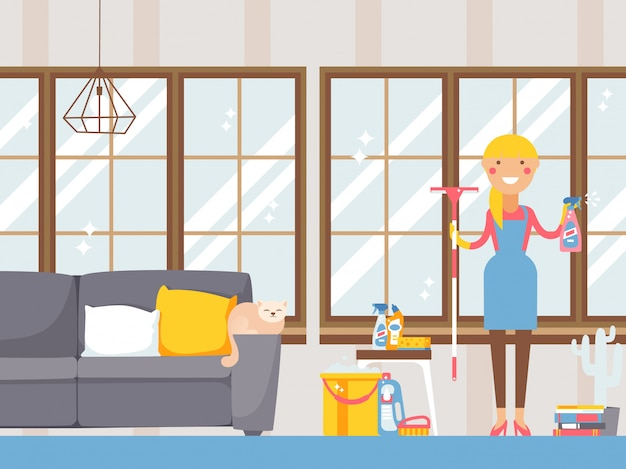 Домохозяйка убирает квартиру