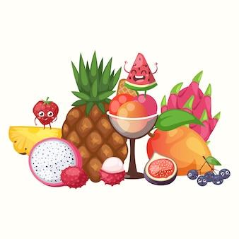 Экзотические тропические фрукты,