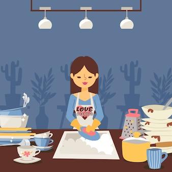 Женщина моет посуду, домохозяйка на кухне, чистит тарелки после обеда