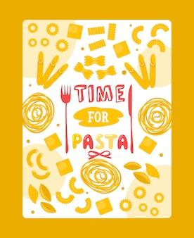 Итальянская паста постер, типография фраза время для макарон