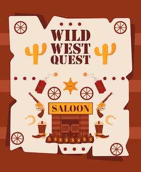 野生の西のクエストポスター、イラスト。アメリカ西部のカウボーイの冒険の漫画スタイルシンボル。