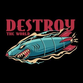 Акула бомба разрушить мир иллюстрация