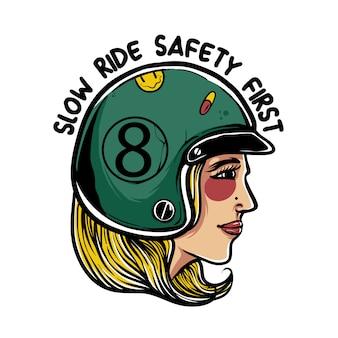 レトロなヘルメットの図を着ている女性