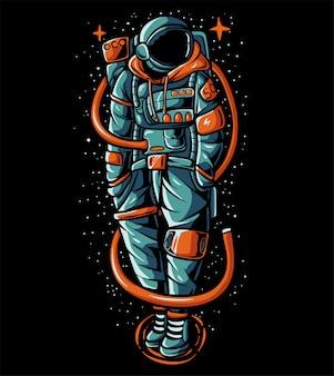 誇張宇宙飛行士のセーターイラストを着て
