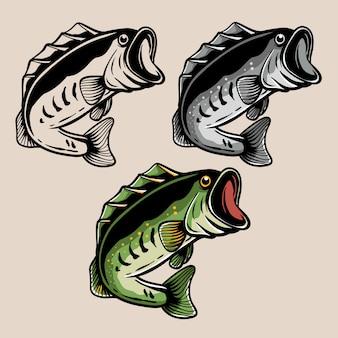 オオクチバスの魚のイラスト