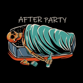 Скелет спит в гробу с бутылкой ликера, сигаретой и пиццей