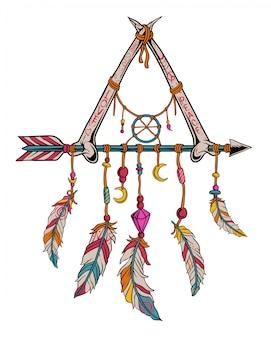 骨と矢を持つドリームキャッチャー。平和と愛のビンテージデザイン