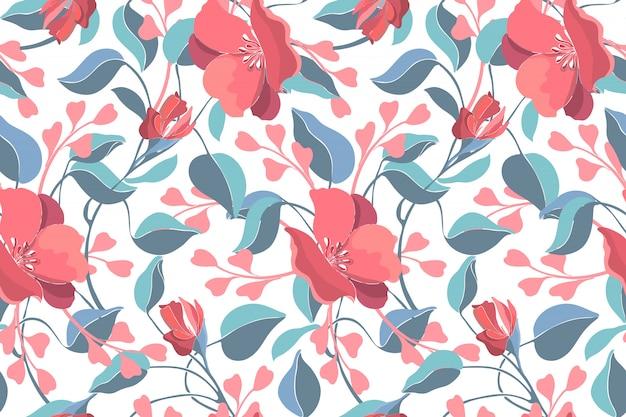 アート花のベクトルのシームレスパターン