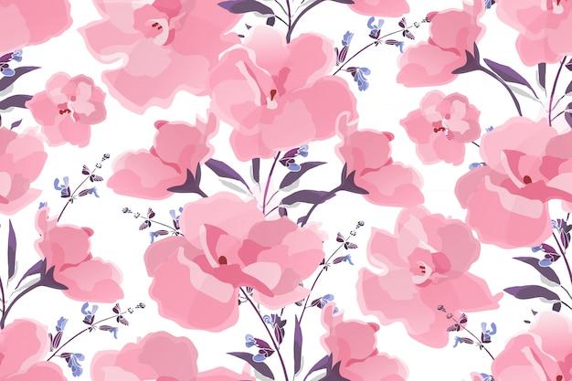 Розовые цветы и фиолетовые ветви на белом фоне