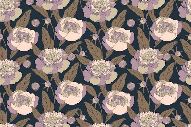 牡丹とアート花のシームレスなパターン。ネイビーブルーの背景に分離されたパステル調の花。布、家庭用および台所用テキスタイル、紙の無限のパターン。
