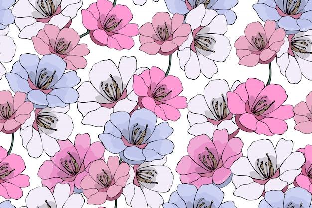 アート花柄シームレス。