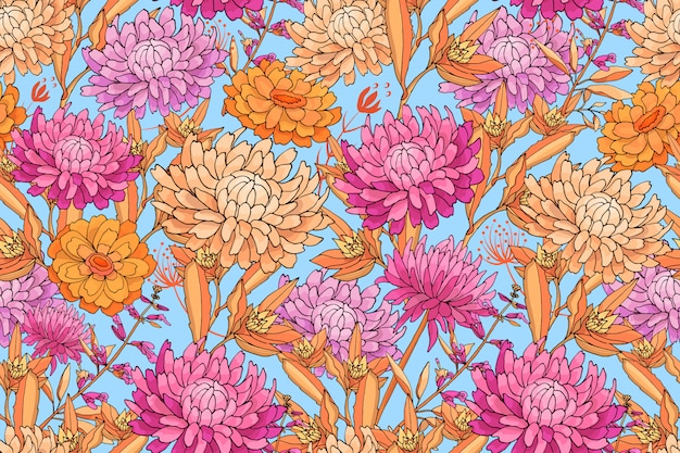 Художественный цветочный бесшовный образец.