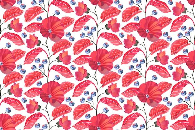 アート花柄シームレス。赤いゼニアオイ、枝、葉、白い背景で隔離の青い果実。