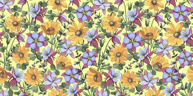 黄色のガヤルディアとベクターのシームレス花柄。