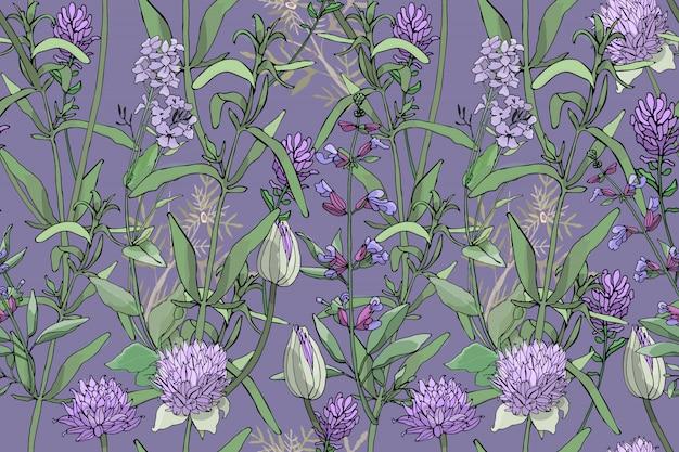 紫色のカキ植物とシームレスな花柄