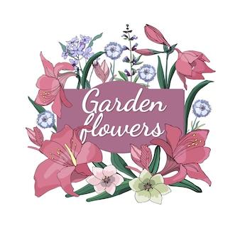 Набор сезонных красивых садовых цветов.