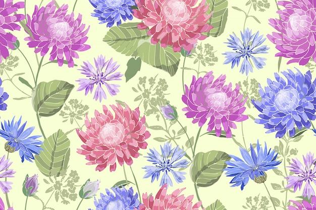 アート花ベクトルシームレスパターン。美しいベクターの夏の花