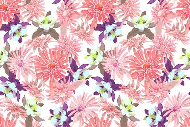 アート花ベクトルシームレスパターン。ピンクのアスター、菊、紫と黄色のコロンバイン。