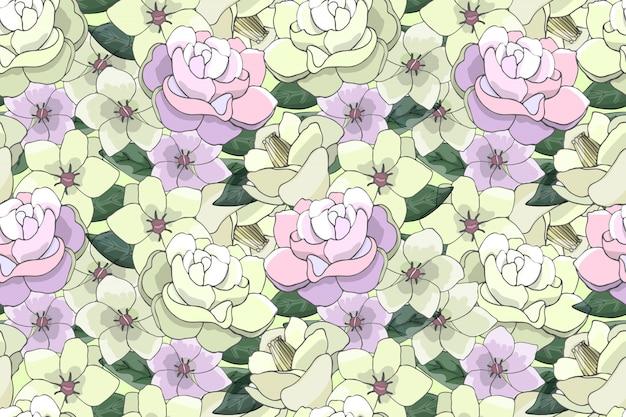 明るい黄色とピンクの花を持つアート花柄ベクトルシームレスパターン。