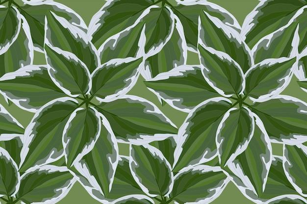 緑の葉と花のベクトルのシームレスパターン
