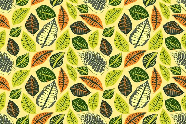 Цветочный вектор бесшовный фон с разноцветными листьями