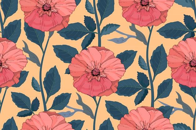 アート花ベクトルシームレスパターン。美しいベクターの夏の花。サンゴ色マロー