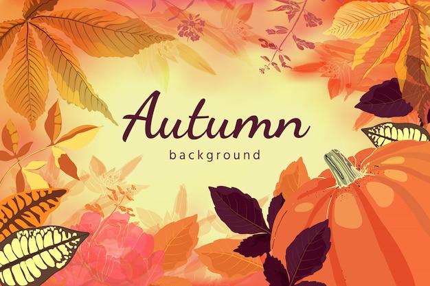 Красные, желтые, оранжевые, шоколадные листья и цветы, оранжевая тыква на светло-желтом