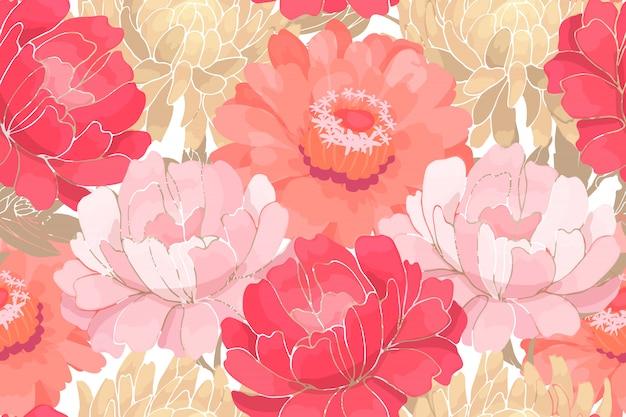 白で隔離されるベージュの葉とピンクと白の庭の花