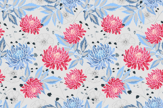 Художественный цветочный вектор бесшовный образец. синие, розовые астры и ракушки