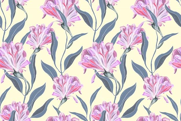 アート花のベクトルのシームレスなパターン。繊細なピンクのサツマイモ(朝顔)