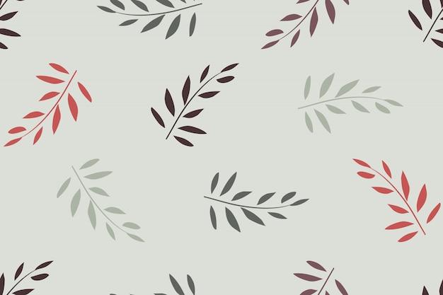 アート花のベクトルのシームレスなパターン。ライトグレーに分離された葉と赤、オリーブの枝。ファブリック、壁紙デザイン、包装紙用。