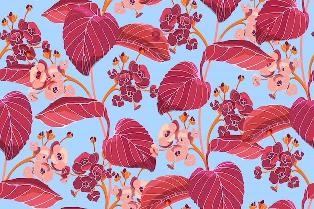 アート花のベクトルのシームレスなパターン。赤い紅葉、ピンク、ブルゴーニュのアジサイの花。ベクターの庭の花