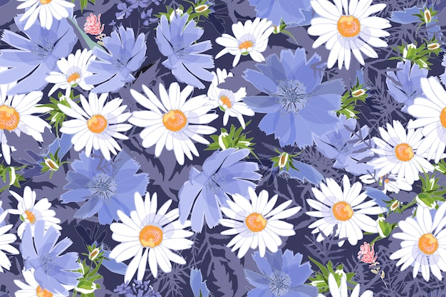 Художественный цветочный вектор бесшовный образец. ромашки и цикорий с бутонами, листьями, ветками. белые и синие полевые луговые цветы