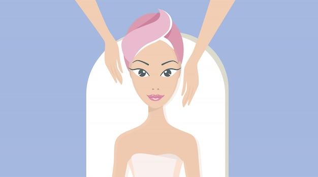Спа-процедуры и косметология. портрет красивой девушки, которая делает массаж лица.