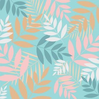 Тропические листья на синем фоне.