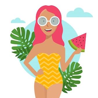 メガネと黄色の水着でビーチに彼女の手でスイカを持つ少女。夏のビーチで笑っている女の子