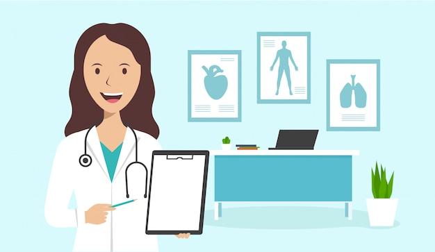 Женщина-врач стоит в офисе и держит лист бумаги с диагнозом. комплект врача на рабочем месте