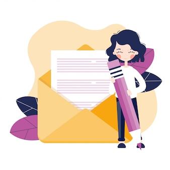 手紙を持つ少女。封筒と白紙の文書を開きます。