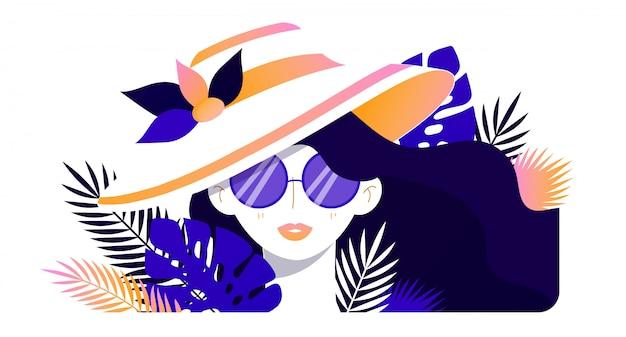 夏の少女のイラスト